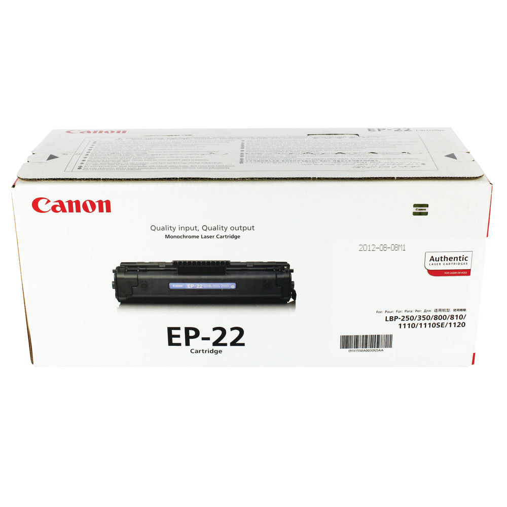 Canon EP-22 (Yield: 2,500 Pages) Black Toner Cartridge - 1550A003