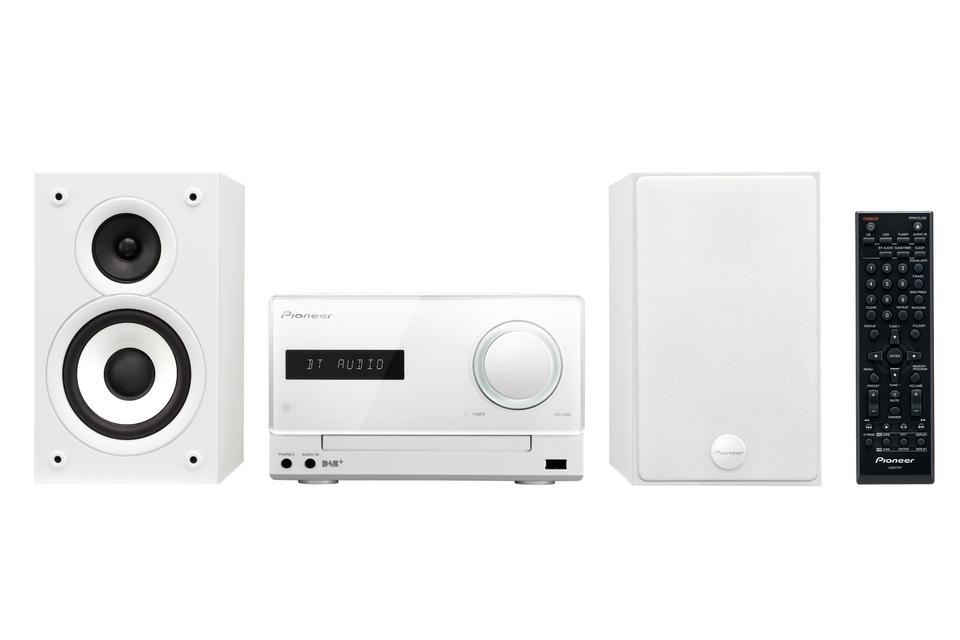 Pioneer X-CM32BTD-W CD Receiver System with iPod/iPhone/iPad Playback, FM Tuner, DAB/DAB+, Bluetooth, and USB (2 x 15 W) - (White)