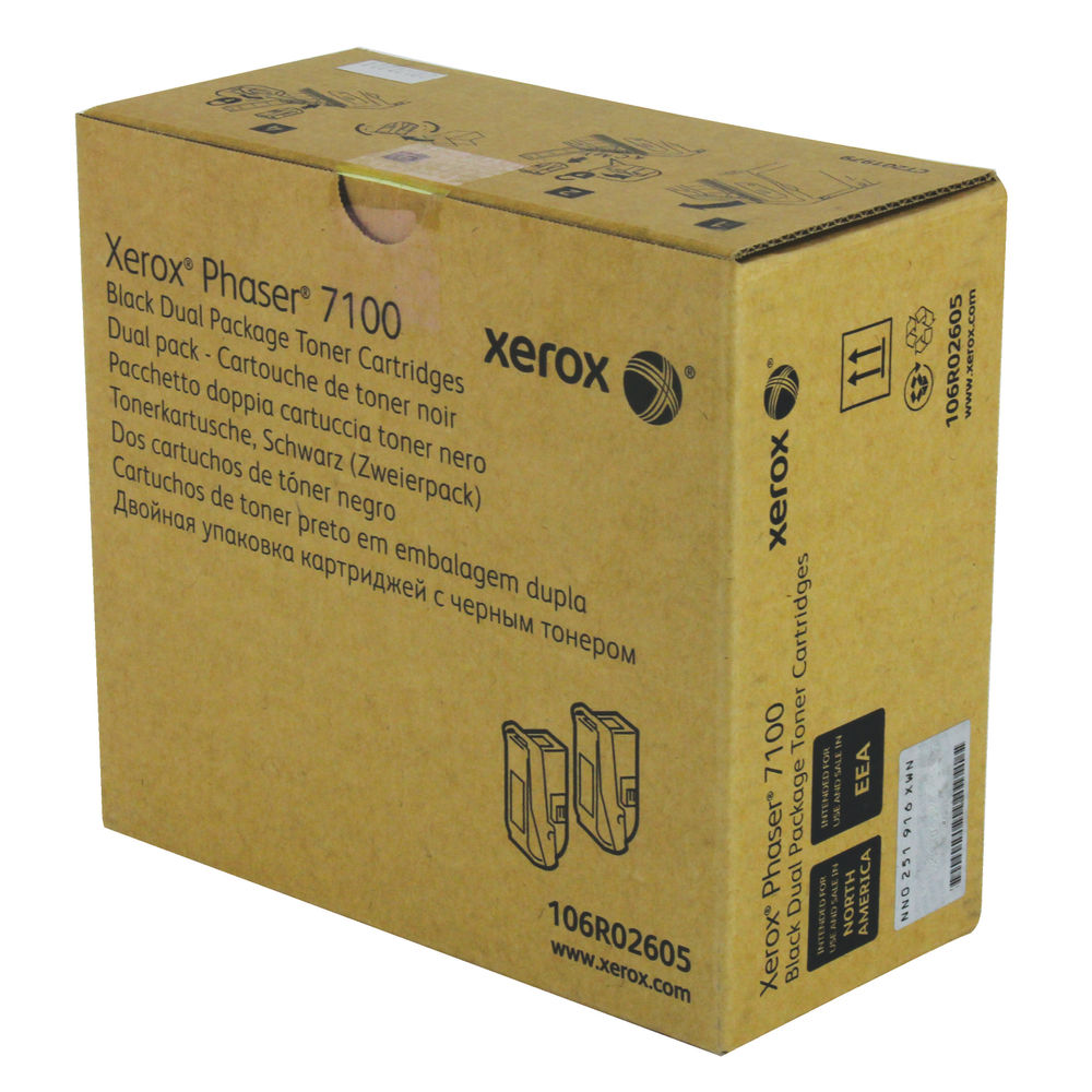 Xerox 106R02605 (Yield: 5,000 Pages) Black Toner Cartridge Pack of 2
