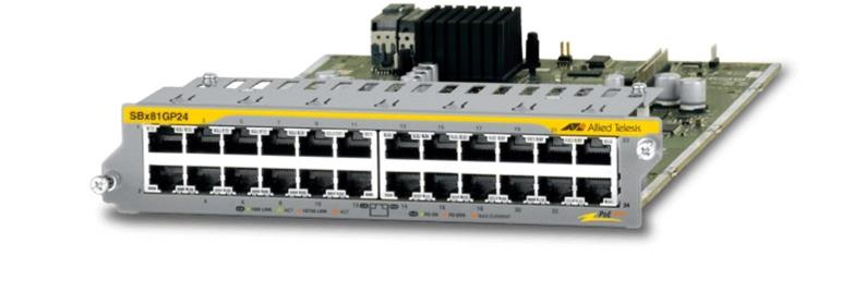 Allied Telesis 24-Port 10/100/1000T PoE+ Ethernet Line Card