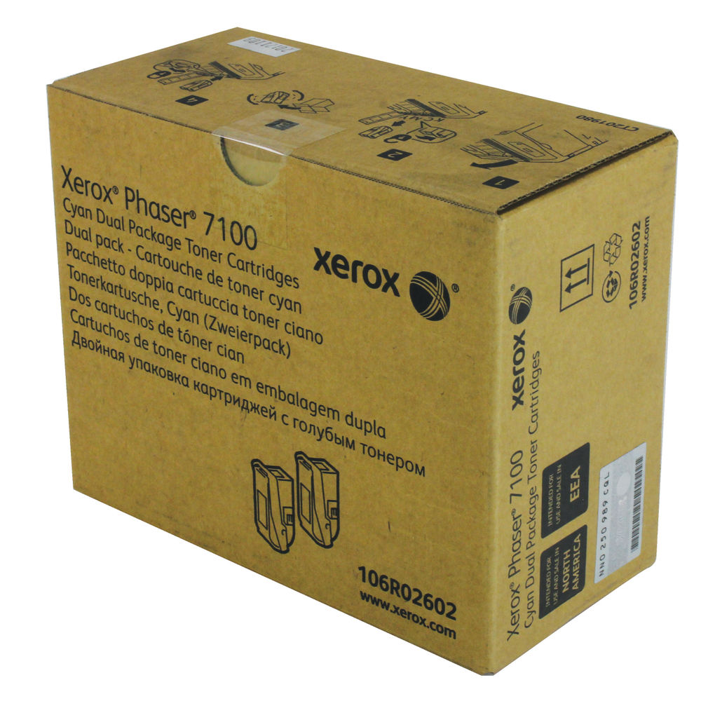 Xerox 106R02602 (Yield: 4,500 Pages) Cyan Toner Cartridge Pack of 2