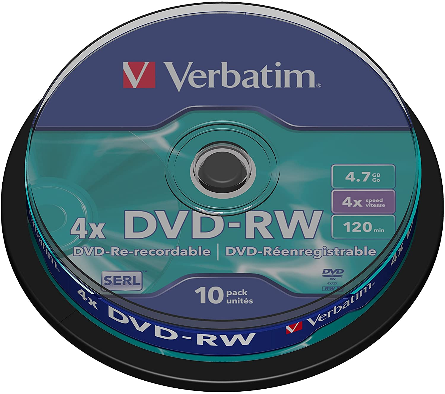 Verbatim DVD-RW 4x 4.7GB Discs on a Spindle - Pack of 10