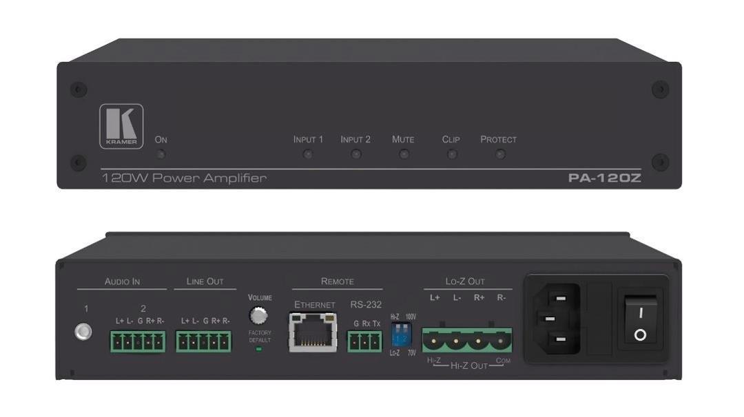 """Kramer Electronics PA-120Z Power Amplifier (1x120W) """"70V/100V and 2x60W @8Ohms)"""