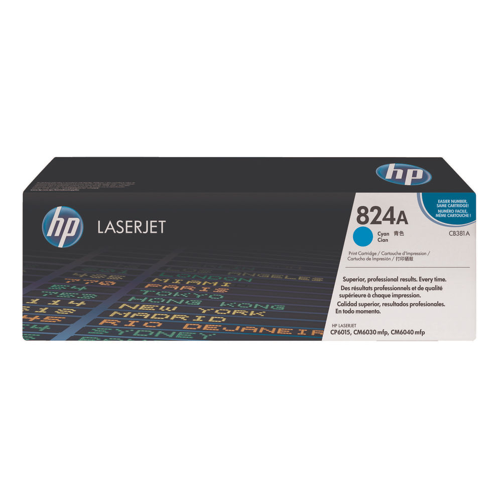 HP 824A (Yield: 21,000 Pages) Cyan Toner Cartridge