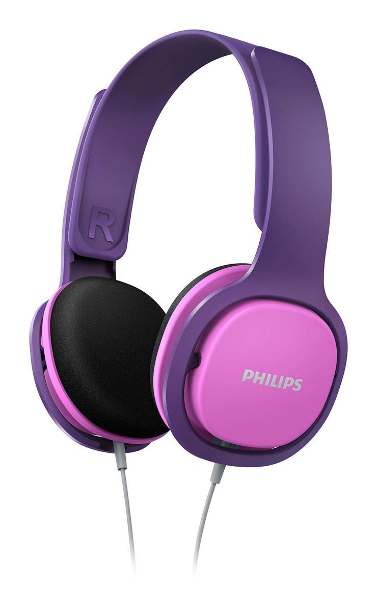 Philips On-Ear Kids Headphones (Pink and Purple)