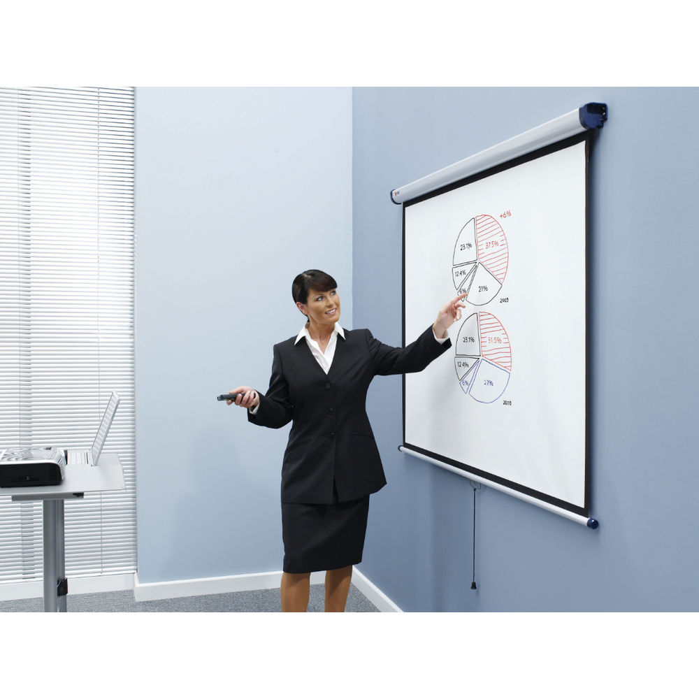 Nobo Wall Mounted 4:3 Projection Screen 2000x1513mm (Black-Bordered) for DLP LCD Projector
