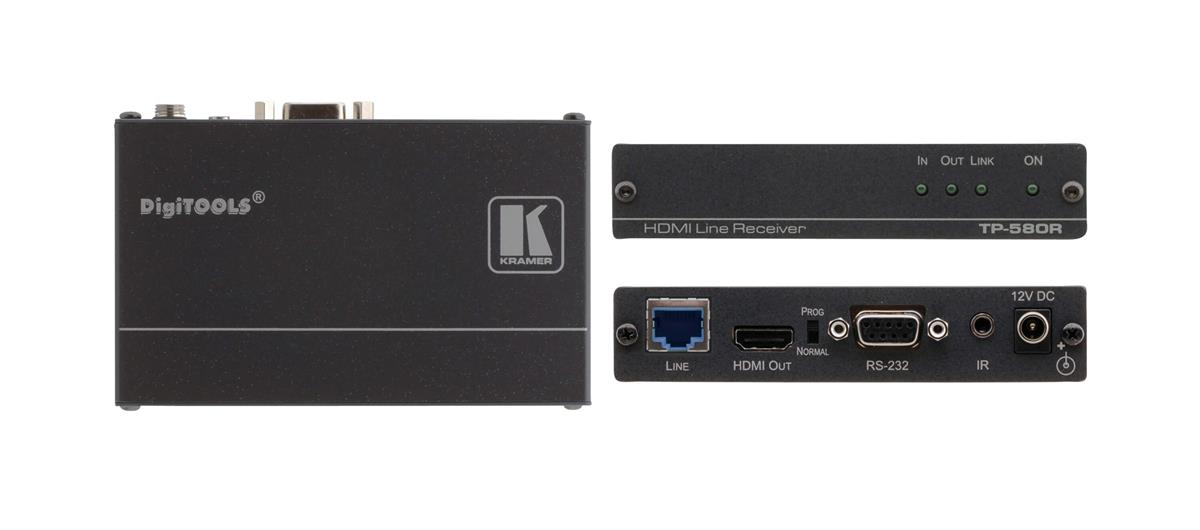 Kramer Electronics 4K60 4:2:0 HDMI HDCP 2.2 Receiver with RS-232 and IR Over Long-Reach HDBaseT