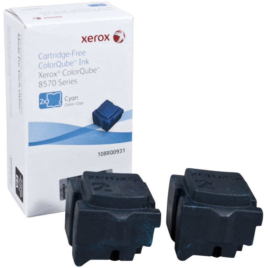 Xerox ColorQube 108R00931 (Yield: 4,400 Pages) Cyan Solid Ink Sticks Pack of 2