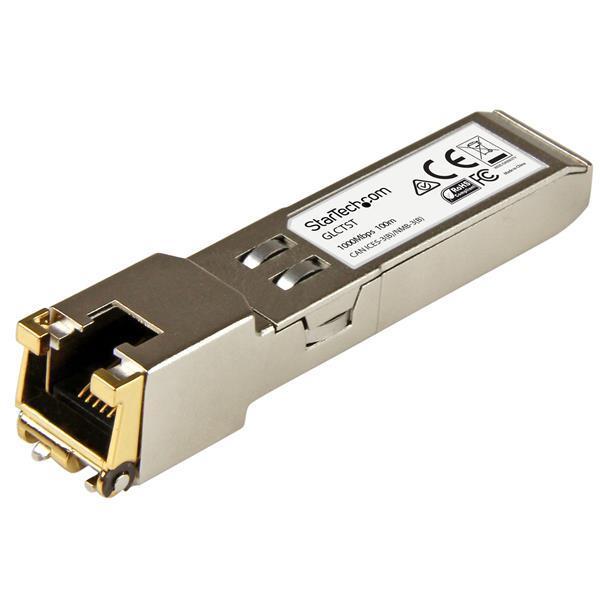 StarTech.com Gigabit Copper SFP Transceiver Module 1000 Base-T, RJ45, Cisco GLC-T Compatible (100m)