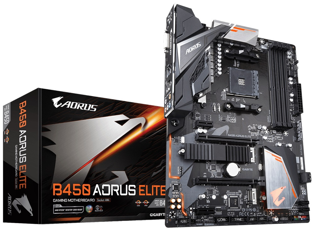 Gigabyte B450 AORUS Elite AMD AM4 B450 Motherboard (ATX) Gigabit LAN (Integrated Graphics)