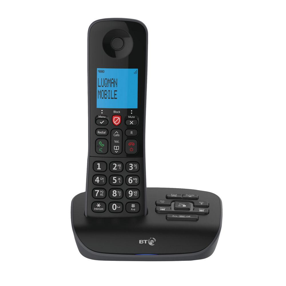 BT Essential Cordless Telephone Backlit Display Speaker Answering Machine Nuisance Call-blocking (Black) Single-Pack