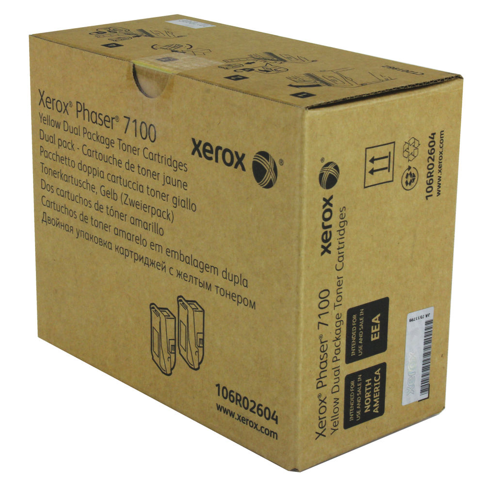 Xerox 106R02604 (Yield: 4,500 Pages) Yellow Toner Cartridge Pack of 2