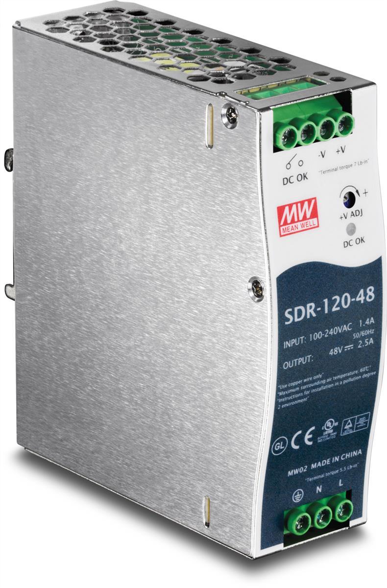 TRENDnet 120W Single Output Industrial DIN-Rail Power Supply (Silver) Version v1.0R