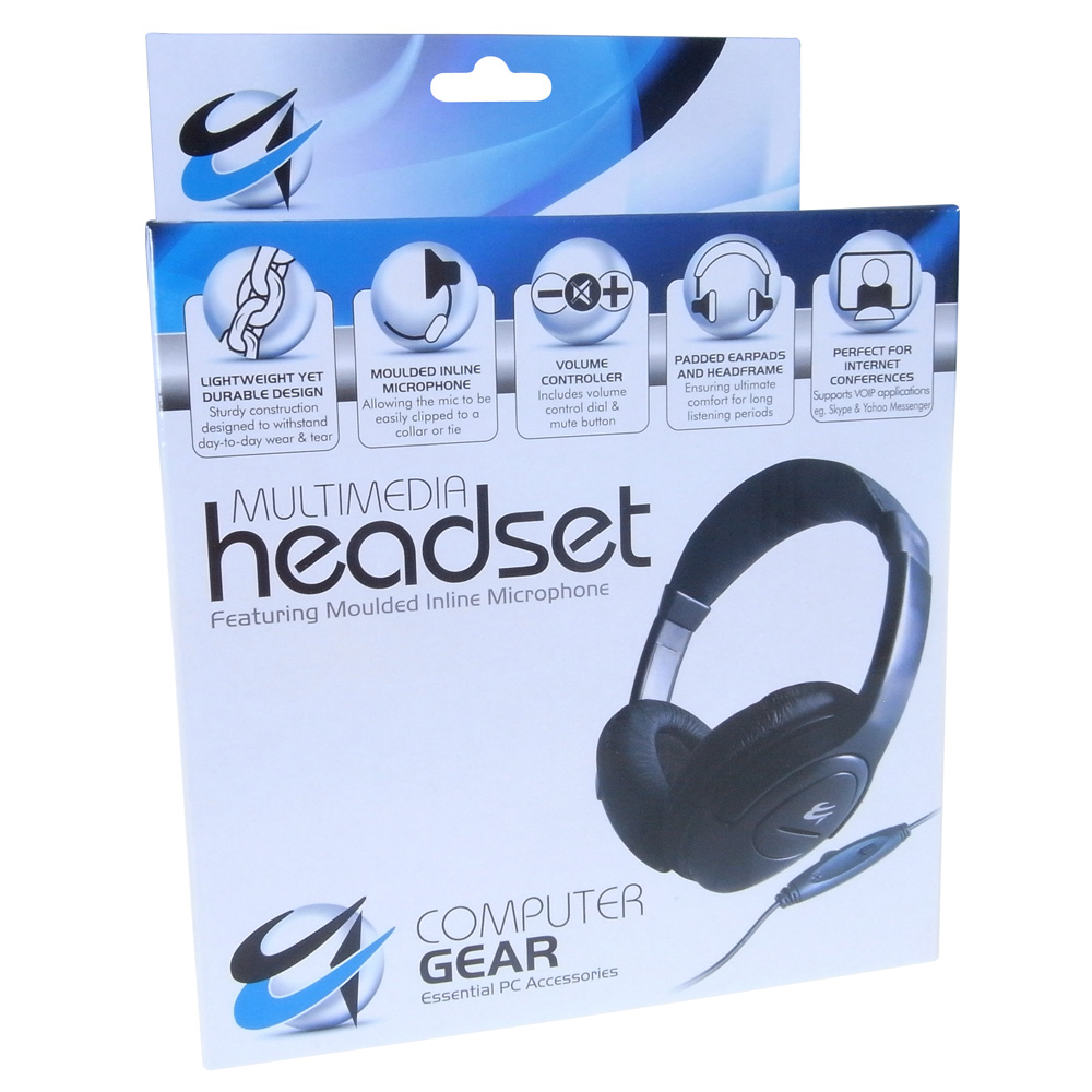 Group Gear Multimedia Stereo Headset (Black) with Moulded Inline Microphone