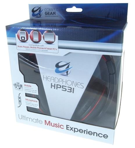 Group Gear HP531 Mobile Headset (Black/Red) with Built-in Microphone and Remote