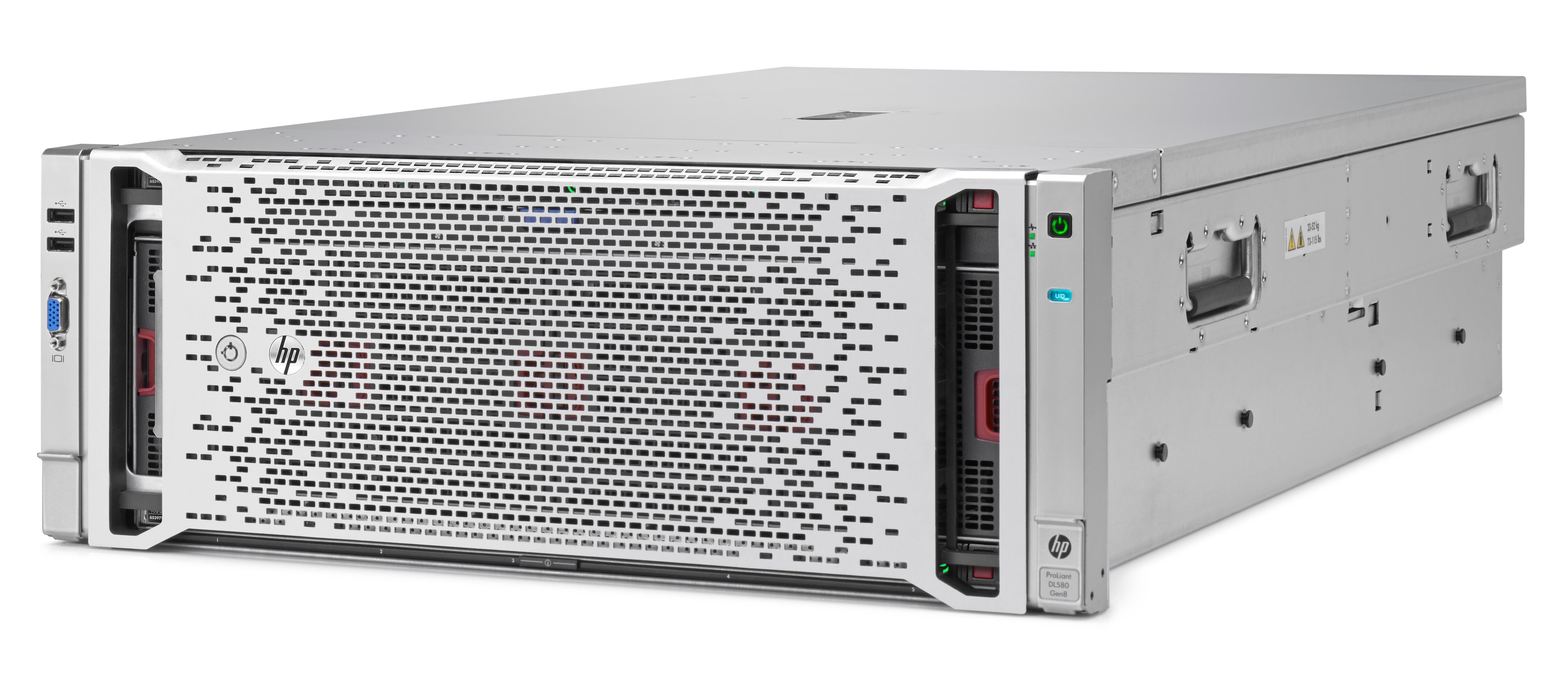 HP ProLiant DL580 Gen8 (4U) Server (2P) Xeon Six Core E7 (4809 v2) 1.9GHz 64GB-R (No HDD) SAS/SATA/SSD SFF 331FLR P830i/2G with 2 x 1200W Power Supply