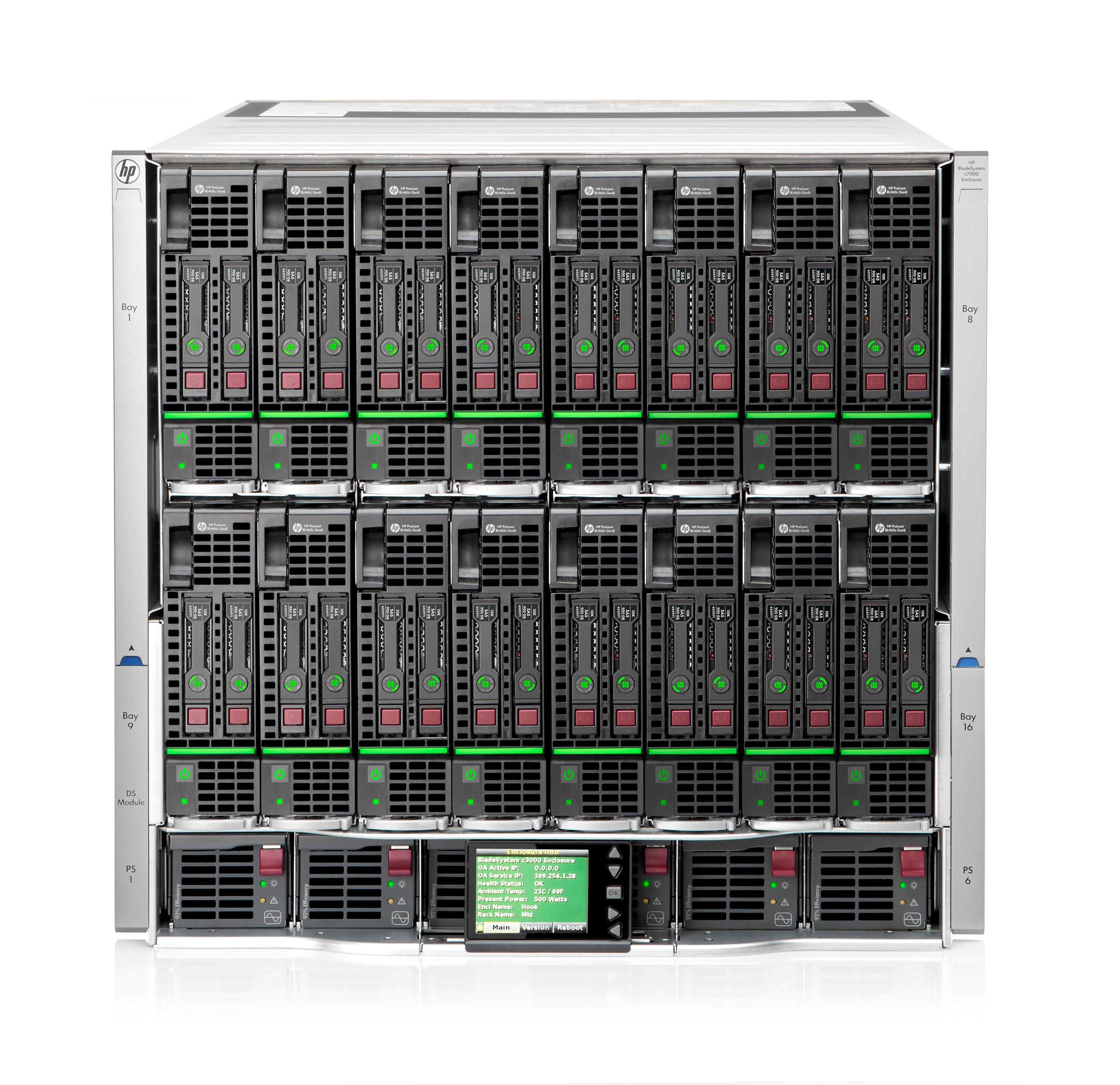 HP BLc7000 Platinum Enclosure with 1 Phase 6 Power Supplies 10 Fans ROHS 16 Insight Control Licences