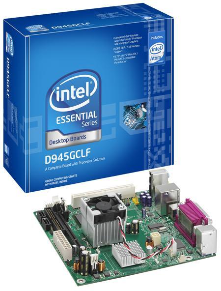 Intel D945GCLF Desktop Board Intel Atom Socket Micro-FCBGA i945GC+ICH7 Mini-ITX/Micro-ATX 10/100 Ethernet LAN Intel Graphics Media Accelerator 950 (Boxed)