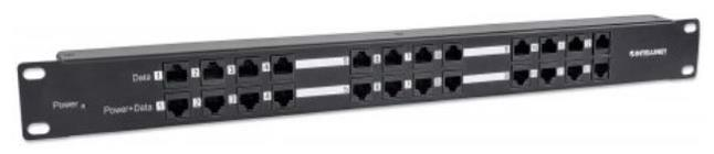 Intellinet 12 Port PoE Patch Panel 24 Port Patch Panel with 12 Port RJ45 Data in and 12 Port RJ45 Data and Power Out