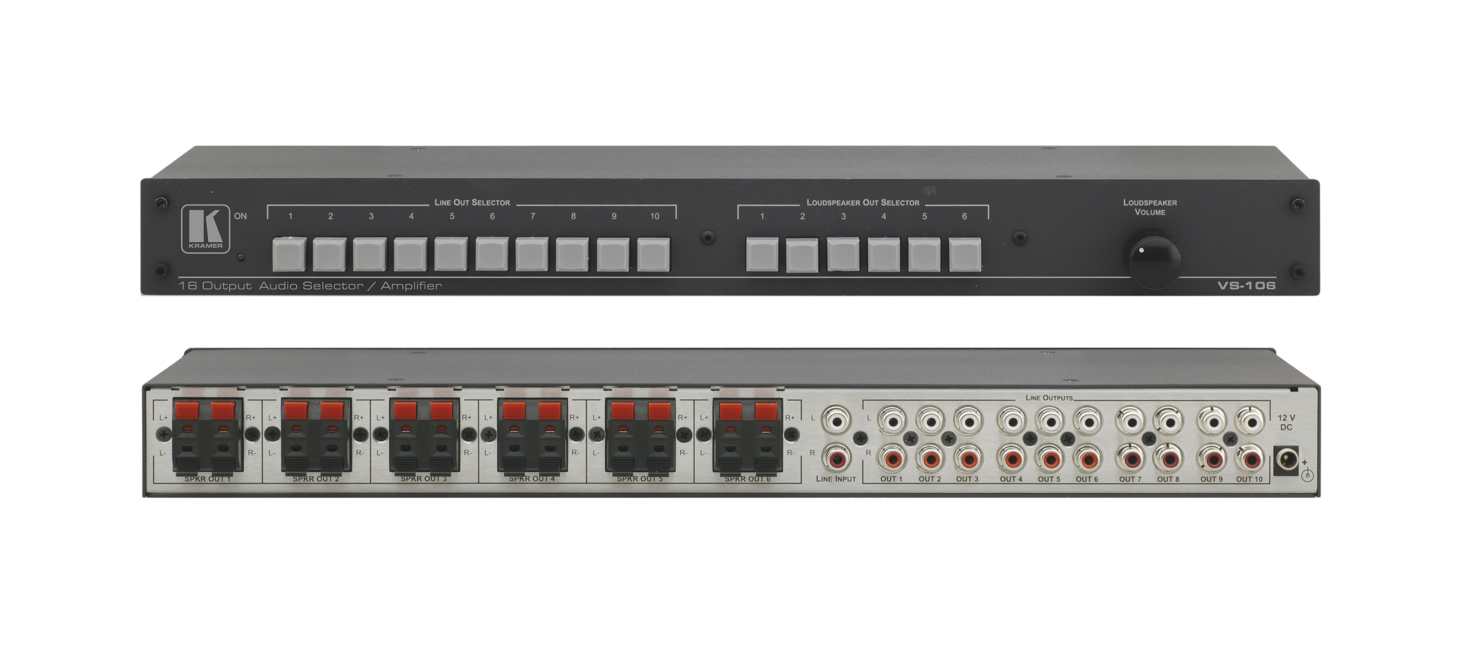 Kramer Electronics 1x10 Stereo Audio Line Switcher or 1x6 8 Watt RMS Stereo Amplifier and Switcher