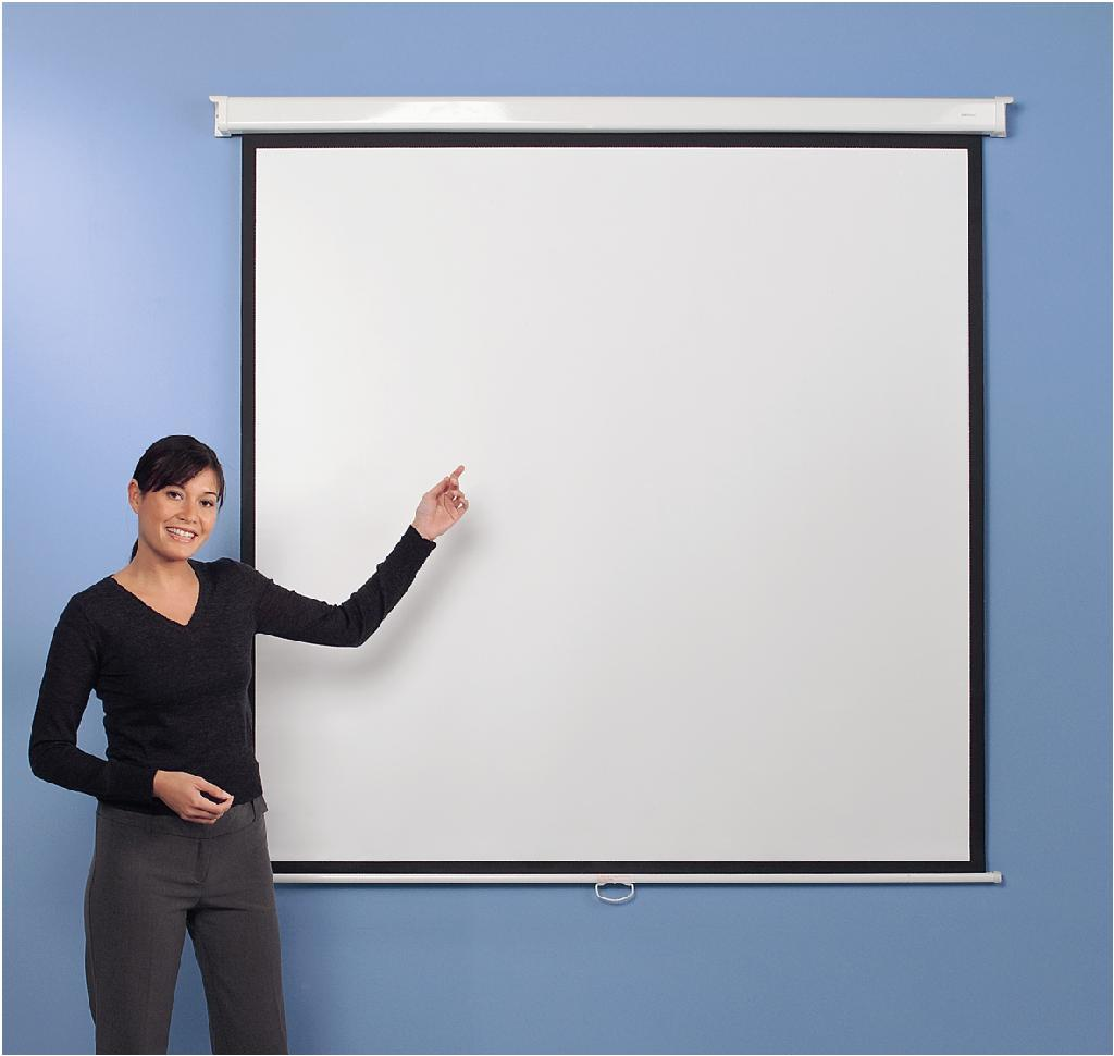 Metroplan Eyeline (1500mmx1500mm) Square 1:1 Presenter Wall Projection Screen (White)