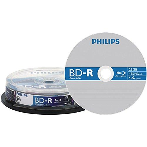 Philips Blu-Ray Recordable Discs 25GB 6x Write Speed (Pack of 10)