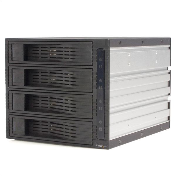 StarTech.com (4 Drive) Trayless Hot Swap (3.5 inch) SATA Mobile Rack Backplane Storage Drive Cage (Black)