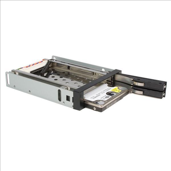 StarTech.com 2 Drive 2.5 inch Trayless Hot Swap SATA Mobile Rack Backplane Storage bay Adaptor (Black)