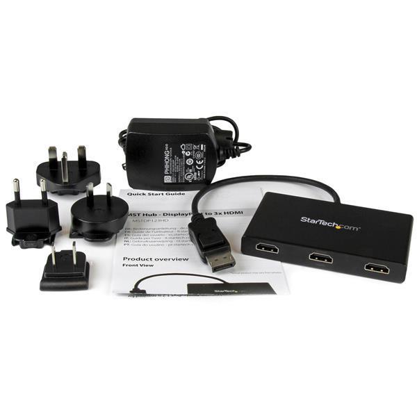 StarTech.com MST Hub - DisplayPort to Triple Head HDMI Multi Monitor Adaptor (Black)