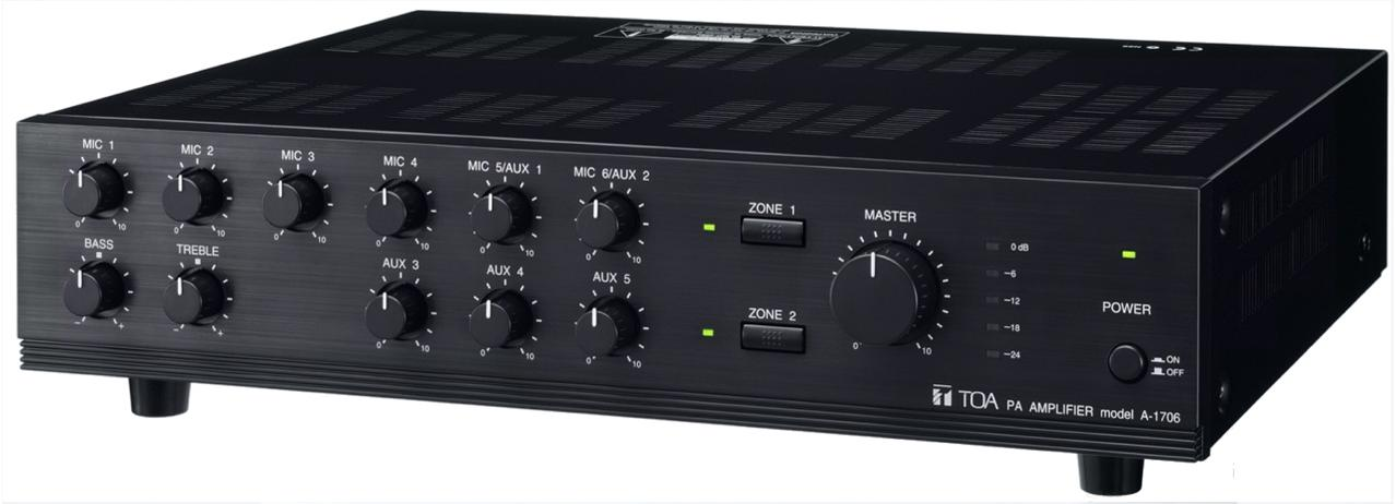 TOA A-1706 60W Mixer Amplifier Power Source 240 VAC 50/60 Hz 50 - 20,000Hz Frequency
