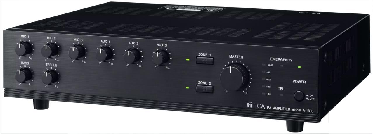 TOA A-1806 60 Watt Mixer Amplifier Distortion Under 2% at 1kHz Rated Power