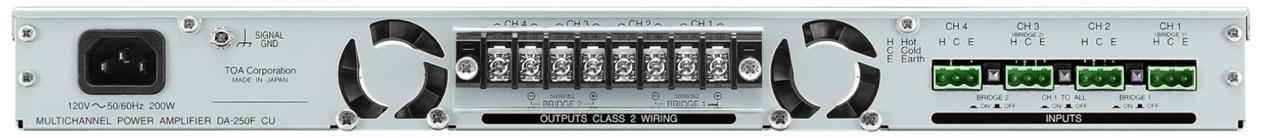 TOA DA-250FH Multichannel Power Amplifier Class D Input 4 Circuits +4dB