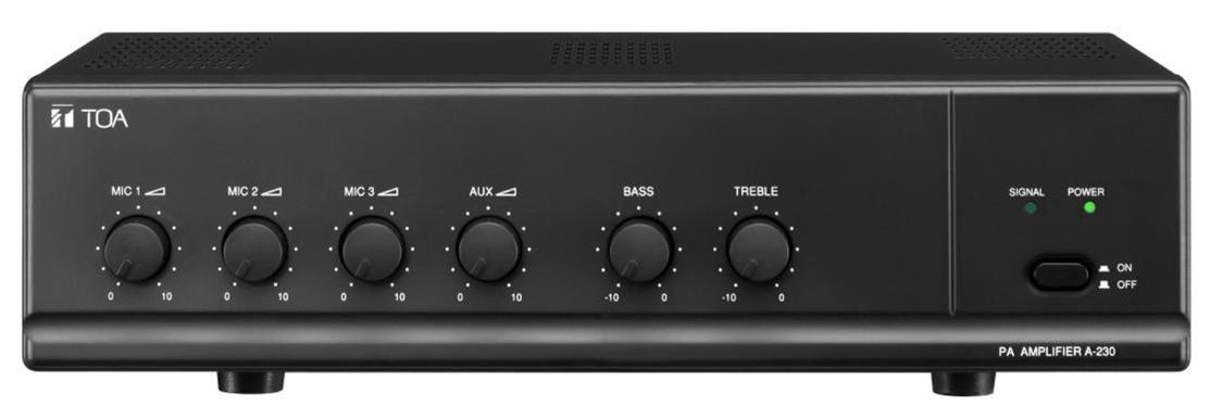 TOA A-230 Amplifier 30W 50-20,000Hz Frequency Response 60dB Signal to Noise Ratio