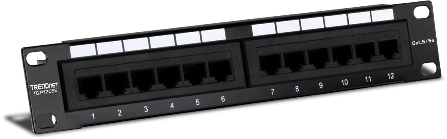 TRENDnet TC-P12C5E 12-Port Cat 5e Unshielded Patch Panel (Black)