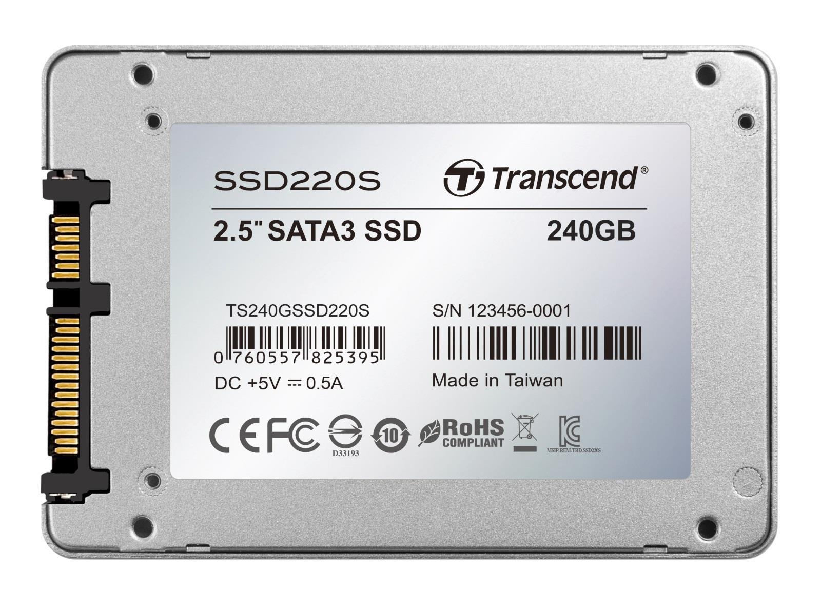 Transcend SSD220 (240GB) 2.5 inch Solid State Drive SATA III 6Gb/s Aluminium Casing (Silver)