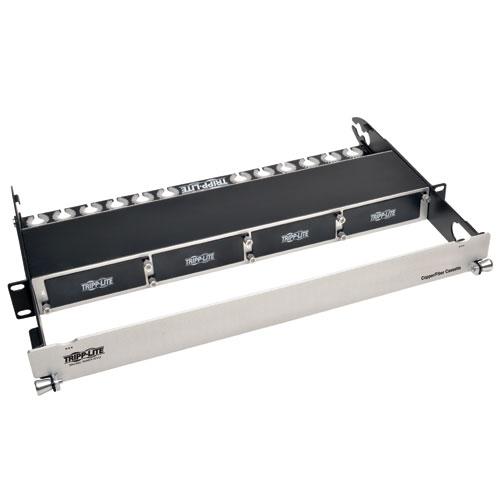 Tripp Lite 1U Rack-Mount 4-Cassette Capacity High Density Copper/Fibre Enclosure Panel (Black/Silver)