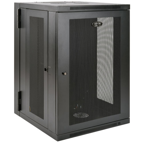 Tripp Lite SmartRack (18U) UPS Depth Wall Mount Rack Enclosure Cabinet with Hinged Back (Black)