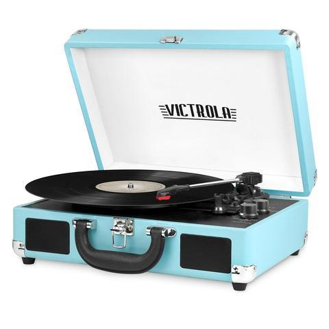 Victrola Bluetooth Portable Suitcase Record Player with 3-Speed Turntable (Turquoise)
