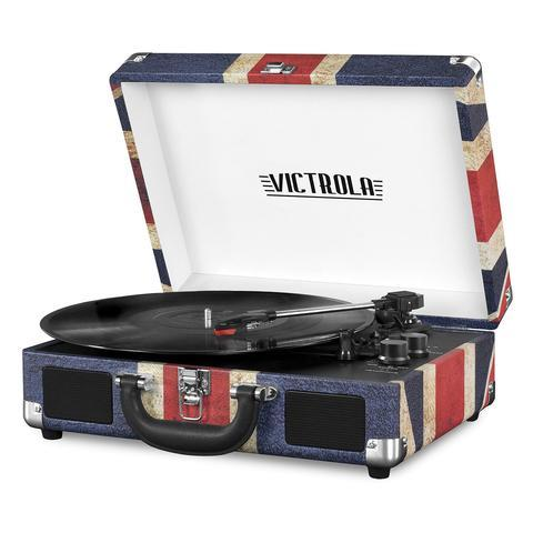 Victrola Bluetooth Portable Suitcase Record Player with 3-Speed Turntable (UK Flag)