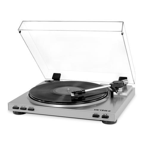 Victrola Pro USB Record Player with 2-Speed Turntable and Dust Cover (Silver)
