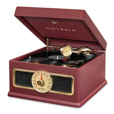 Victrola 5-in-1 Nostalgic Bluetooth Record Player with CD, Radio, Record Storage and 3-Speed Turntable