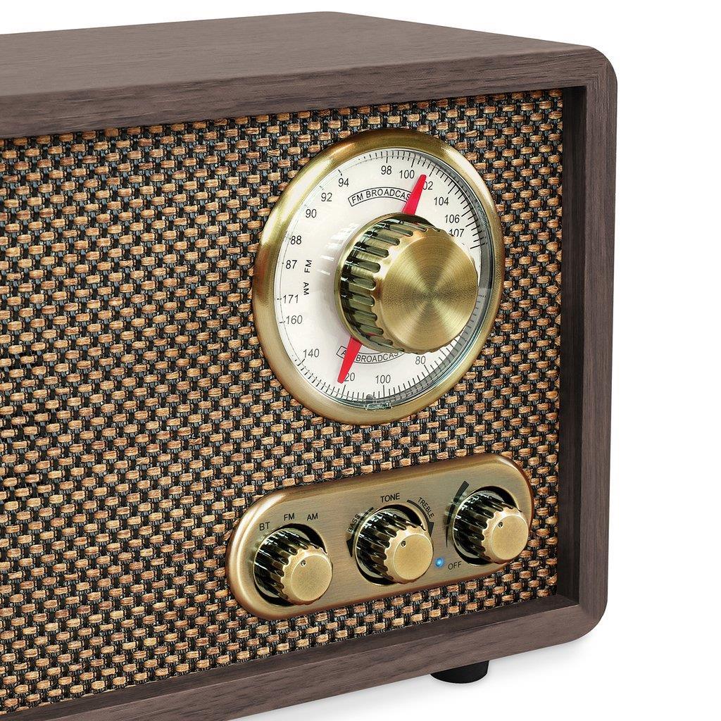 Victrola Retro Wood Bluetooth AM/FM Radio with Rotary Dial