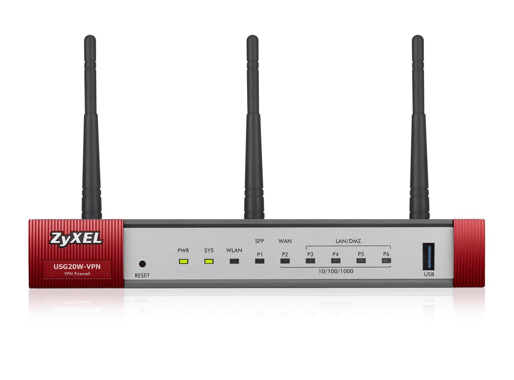 ZyXEL VPN Firewall USG20W 1 x WAN 1 x SFP 4 x LAN/DMZ IEEE 802.11ac/n