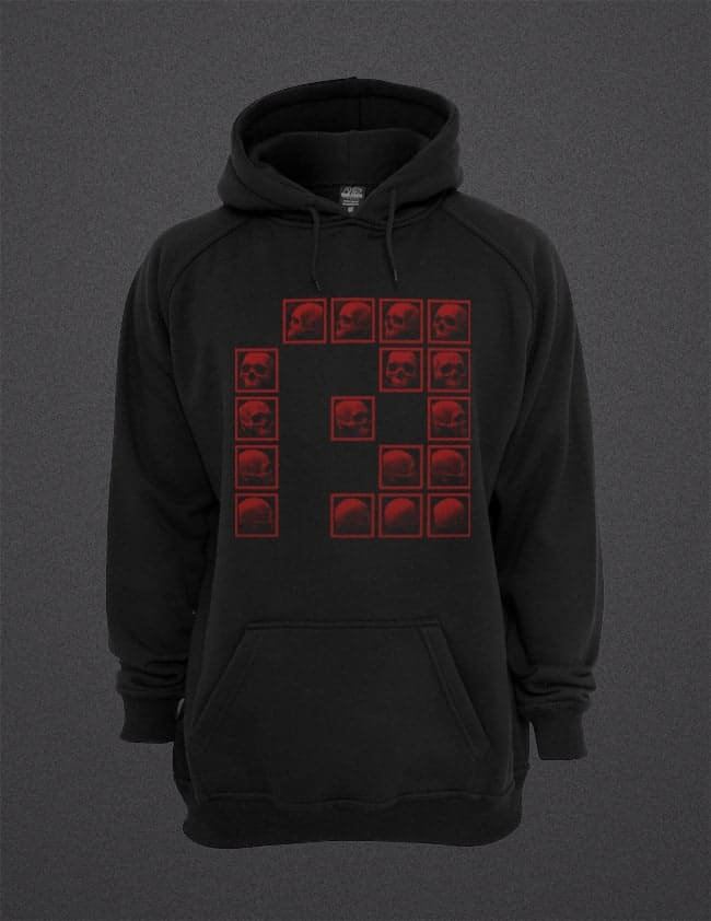 PRSPCTSW02 Red P Skulls Hooded Sweater