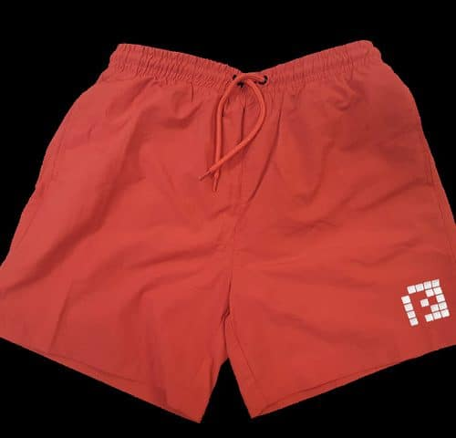 "Red Swim Shorts White ""P"""