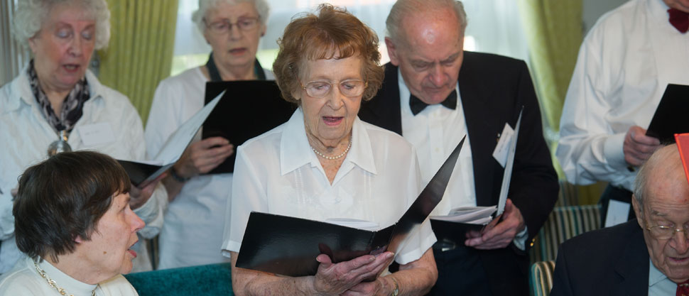 Residents choir sings at the officialopening Maynard House at the Moat House Retirement Village in Gt Dunmow Essex. December 3 2015 Matthew Power Photography www.matthewpowerphotography.co.uk 07969 088655 mpowerphoto@yahoo.co.uk @mpowerphoto