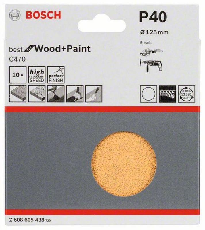 Bosch Schleifblatt-Set C470 Klett 125 mm 10er-Pack 40 ungelocht