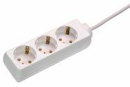 as-Schwabe 11331 Steckdosenleiste 3-fach, 3m, weiß, 3m H05VV-F 3G1,5