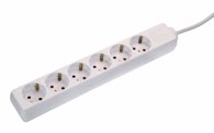 as-Schwabe 11631 Steckdosenleiste 6-fach, 3m, weiß, 3m H05VV-F3G1,5