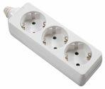 as-Schwabe 11731 Steckdosenleiste 3-fach, weiß, geschraubt ohne Leitung